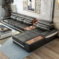 大户型多功能组合黑色皮质沙发舒适客厅家具可定制产地货源