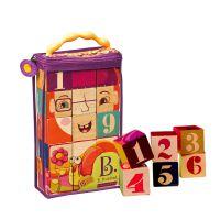 B.toys袋装木质认知积木15件木制拼图学习数字儿童益智力早教玩具