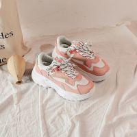 秋冬新款粉色老爹鞋 拼色嘻哈运动鞋 ins超火的鞋子女跑步鞋批发