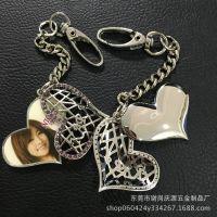 爱心纪念金属钥匙扣 锌合金电镀钥匙挂件 镶照片金属钥匙扣来图制