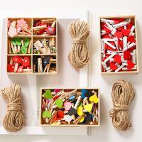 可爱创意木盒套装相册拍立得明信片照片夹子麻绳爱心木头木夹子