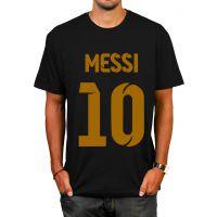 新款梅西Messi圆领印花纯棉男士10号足球队服休闲套头训练服T恤