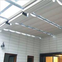 电动天棚帘 定制双轨道折叠式阳光房电动遮阳帘
