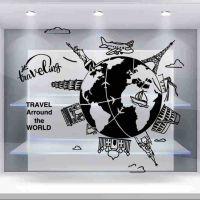 旅游公司旅行社创意背景橱窗玻璃贴纸装饰广告玻璃门贴纸墙贴