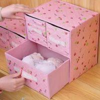 迷你内衣收纳盒可折叠整理低价布艺女生多格鞋袜存储祙子学生双层