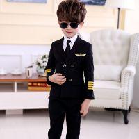 新款儿童机长列车员服装演出服幼儿空少空姐制服男夏飞行员表演服