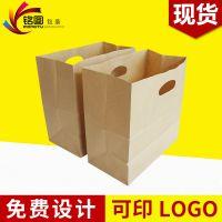 现货供应 挖孔手提袋牛皮纸手挽袋 外卖打包手提纸袋冲孔纸袋