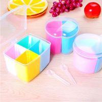 1260厨房可拆式方形多格带勺调味盒 圆形苹果形有盖作料调料盒