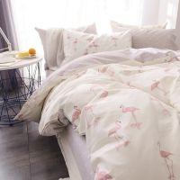 一件代发ins粉色少女心火烈鸟纯棉床上三件套1.2m全棉被套可爱床