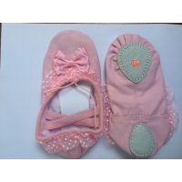 新款韩版舞蹈鞋出口外贸芭蕾舞儿童软底鞋蝴蝶结花边蕾丝鞋批发