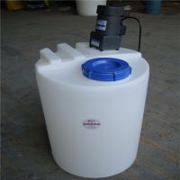 100L黄色塑料加药箱 滚塑成型耐酸碱PE圆桶可配搅拌机