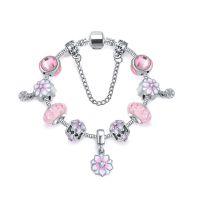 速卖通爆款手链粉色水晶琉璃Diy串珠木兰花手链欧美时尚饰品手饰
