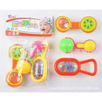 厂家直销 婴儿牙胶摇铃(3只装) 新生儿手摇铃安抚玩具 促销礼品