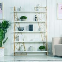 北欧风铁艺落地置物架客厅装饰陈列展示架实木隔板简约创意书架