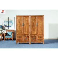 刺猬紫檀素面四门衣柜-花梨木家具-红木衣柜