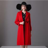 楚贝尔2018秋冬女羊绒外套高腰修身显瘦英伦风中长款时尚双面呢大衣