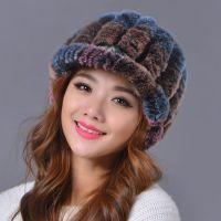 厂家批发 皮草帽子女冬季双层护耳中老年加厚毛线獭兔毛帽子