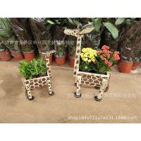木质长颈鹿多肉植物花盆微型盆景动物迷你小绿植室内绿植木头盒子
