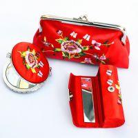 刺绣三件礼盒 绣花镜子口红盒零钱包套装 蕴雅创意布艺女士零钱包