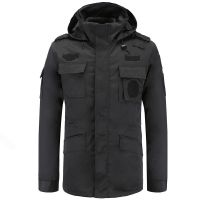 冬季保安大衣加绒加厚宽松防寒冬装棉服工作服男女户外作训服黑色