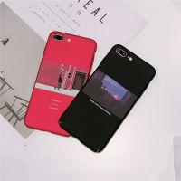 新款简约文艺风格黑红组合iPhone7plus苹果6s手机壳全包硬壳欧美7