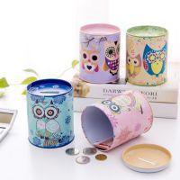 复古猫头鹰圆筒存钱罐 创意马口铁储蓄罐 儿童学生奖励小礼品