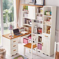 地中海转角书桌书架书柜组合一体电脑桌台式家用学生简约儿童拐角