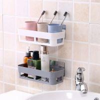 墙上厨房调料置物架卫生间壁挂免打孔浴室洗漱用品收纳盒吸壁式