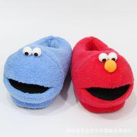 创意新款日本芝麻街艾摩甜饼怪毛绒家居拖鞋动漫周边情侣保暖棉鞋