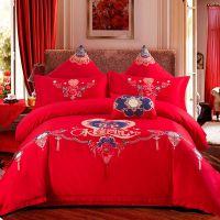 婚庆四件套 全棉刺绣花 大红色纯棉床单被套 结婚喜庆床上用品