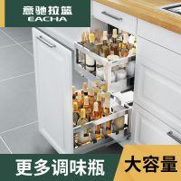 缓冲304不锈钢双层厨房调味拉篮厨房橱柜碗架厨柜调味篮碗篮