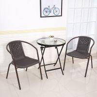 折叠桌玻璃面圆桌方桌钢化户外桌休闲简易可便携式餐桌小圆桌家用