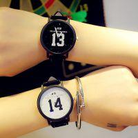 韩国新款大表盘早安晚安情侣对表学生男1314文字控原宿复古女手表