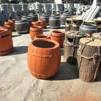 精品景观混凝土仿木花箱 景观建设绿化工程水泥仿木花桶