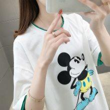 2019夏季新款韩版女装短袖T恤 时尚纯棉女式休闲学生T恤 厂家批发