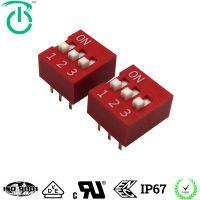 厂家生产3位热水器行业控制板专用可灌胶红色正向程式拨码开关