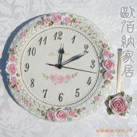 小额混批 高档欧式静音挂钟 蕾丝花纹 特大客厅创意钟表