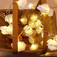 婚礼彩灯婚庆创意玫瑰花灯串闪灯房间布置北欧风装饰灯卧室小灯串