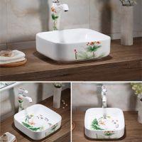 卫浴无孔方形陶瓷小清新连体手绘洗手盆