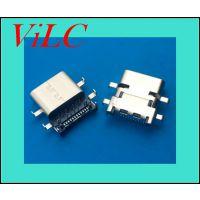 六脚沉板 前插后贴24P-TYPE C母座 高低板 两段式TYPE C-大电流