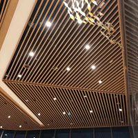 售楼中心铝方通吊顶 仿木纹铝格栅 U型铝方通