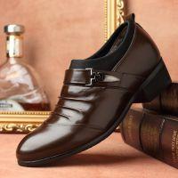 跨境新款内增高男士商务正装尖头皮鞋韩版休闲男鞋套脚低帮鞋单鞋