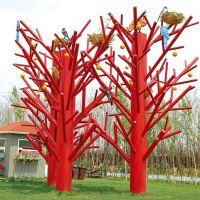 公园道具树仿真枯树枯枝树造型树红色枯树枝咖啡店装饰品树玻璃钢