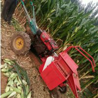 单行玉米收获粉碎还田机 手扶自走式微型单行玉米收割机