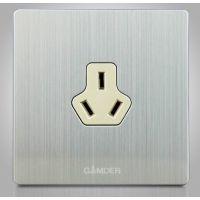 家的墙壁插座 K9不锈钢拉丝面板 10A三孔插座 电源插座三极插座