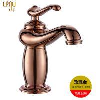 仿古水龙头欧式全铜复古金色台盆龙头冷热铜单孔水龙头开平卫浴