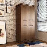 D.L.美式天鹅全实木2门3门衣柜衣橱卧室储物立柜小户型白色胡桃色
