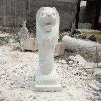 汉白玉鱼尾狮 现货 厂家定制 水景雕塑 大理石鱼尾狮喷 水景观雕塑