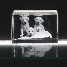 特色水晶书桌摆件,宠物狗内雕纪念品,相册水晶3维水晶礼品摆件