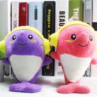 音乐海豚毛绒玩具创意耳机海豚公仔情人节表白礼物婚庆七寸公仔